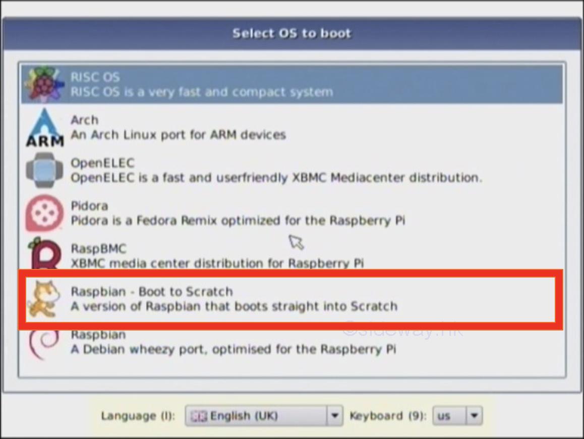 Finestra di selezione di avvio della versione standalone di Scratch