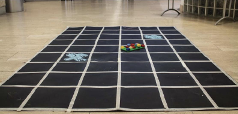 """Esempio di griglia realizzata su un tappeto sul quale sono posti degli ostacoli """"scavalcabili"""" (es. pozzanghere) e ostacoli """"bloccanti""""."""